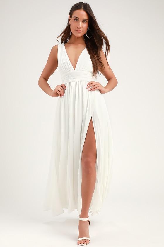 a75e3dd004cf33 White Gown - Maxi Dress - Sleeveless Maxi Dress