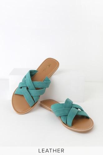 7556ff64d40 Joy Turquoise Suede Leather Slide Sandals