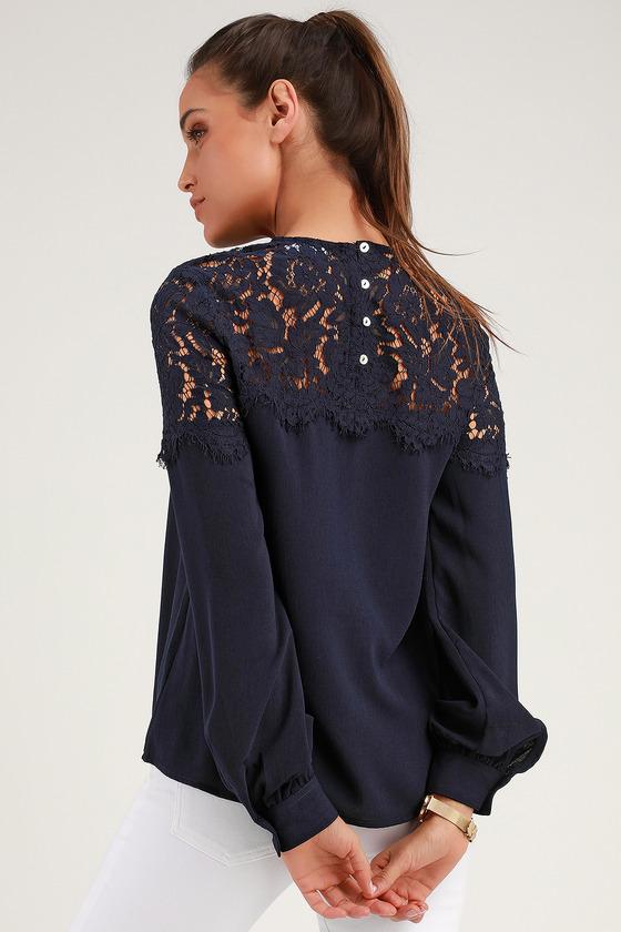 e0a745f50b7 Lace Top - Navy Blue Shirt - Long Sleeve Top - Navy Blouse