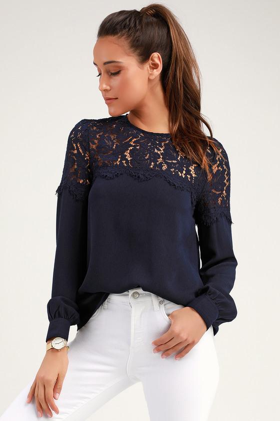 86c588f1e7 Lace Top - Navy Blue Shirt - Long Sleeve Top - Navy Blouse
