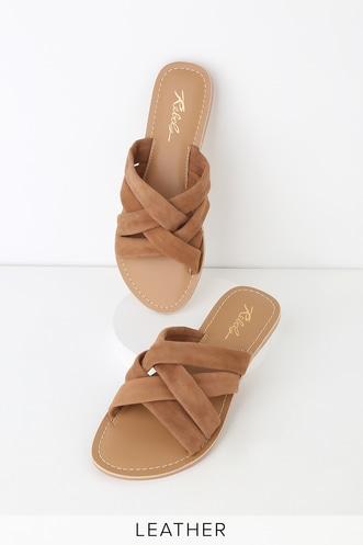 2a5f27ca1 Joy Tan Suede Leather Slide Sandals