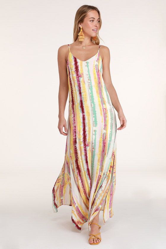 cf5ad5cf6c Cute Tie-Dye Dress - Cream Tie-Dye Dress - Tie-Dye Maxi Dress
