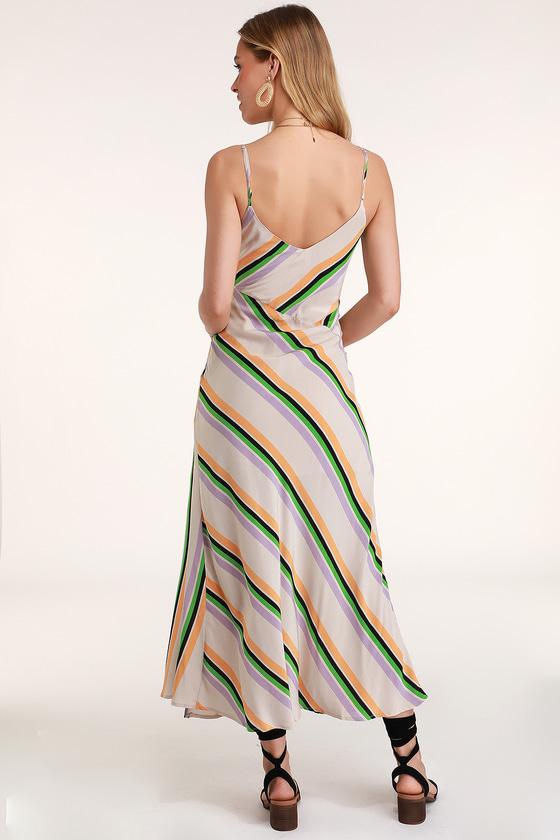 3d59a9792dfb ASTR the Label Jessi - Taupe Striped Dress - Striped Midi Dress