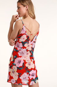 Flower Play Red Floral Print Shift Dress