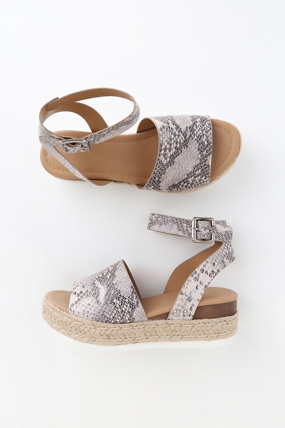 Cute Snake Print Sandals - Espadrille