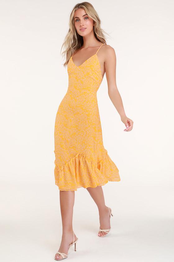 Flirty Fleurs Yellow Floral Print Midi Dress by Lulus