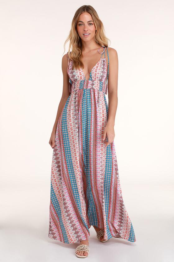 526a99c81829 Pretty Print Dress - Maxi Dress - Multicolored Dress