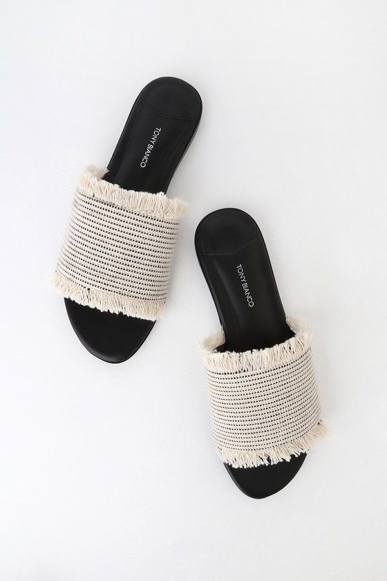 faac9ae457e Tony Bianco Jayd - Black and White Sandals - Woven Sandals