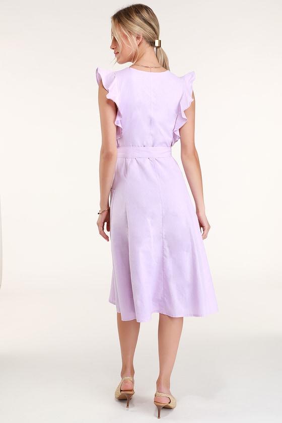 05e14c37f6 Cute Lavender Dress - Purple Ruffled Dress - Button-Up Midi Dress