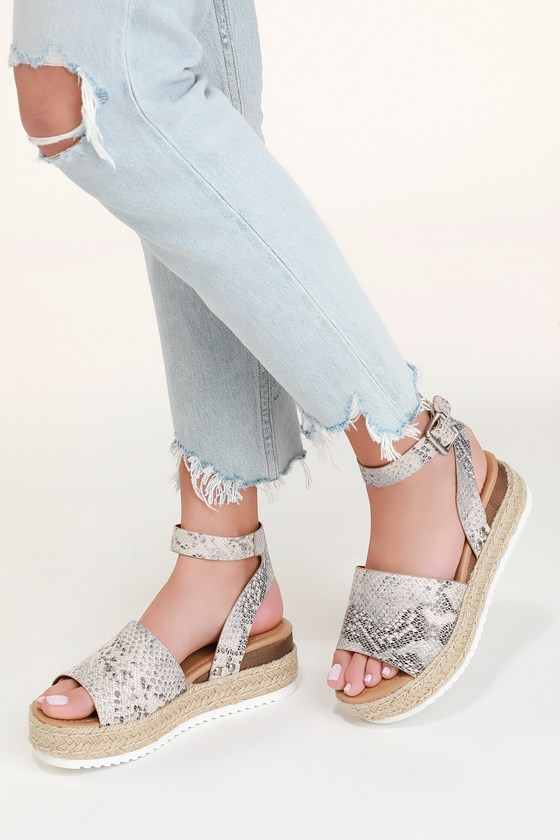 db660714c8b2 Cute Snake Print Sandals - Espadrille Sandals - Platform Sandals