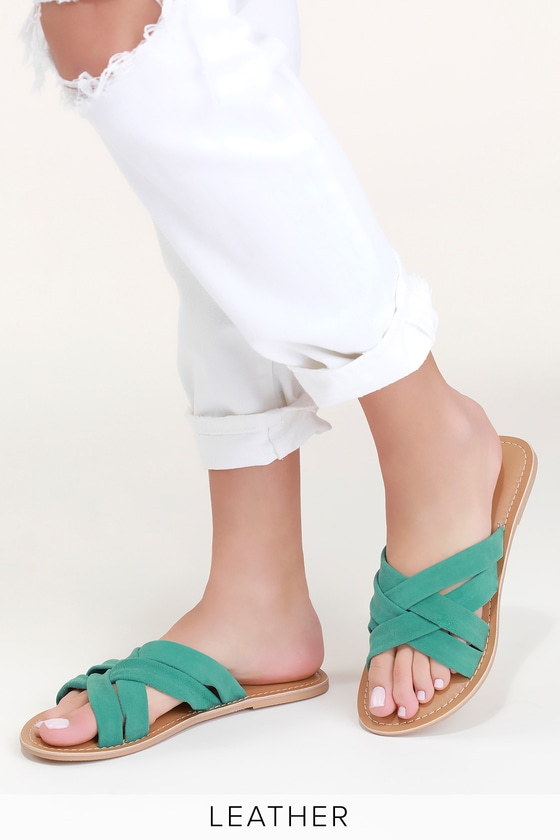 a8133f5b9951 Rebels Joy - Turquoise Sandals - Suede Leather Sandals - Slides