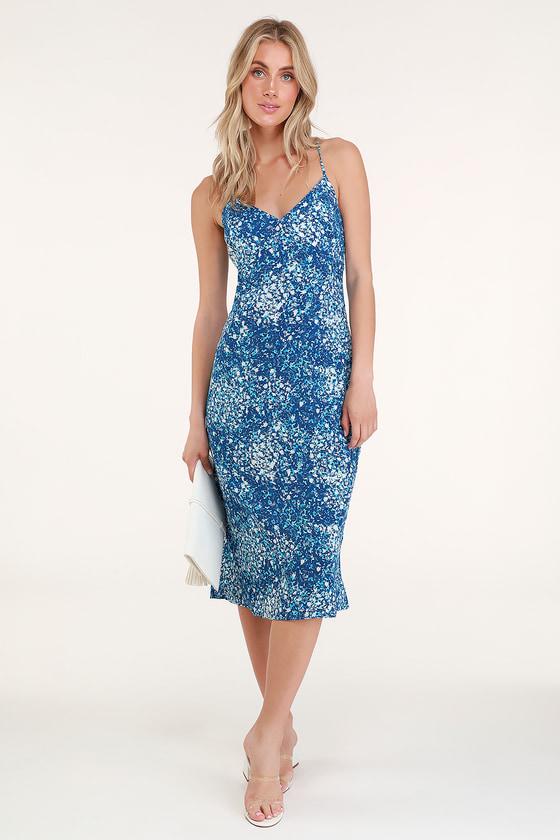 Cute Blue Dress - Floral Print Dress - Midi Dress - Lace-Up Dress 4580a26f0