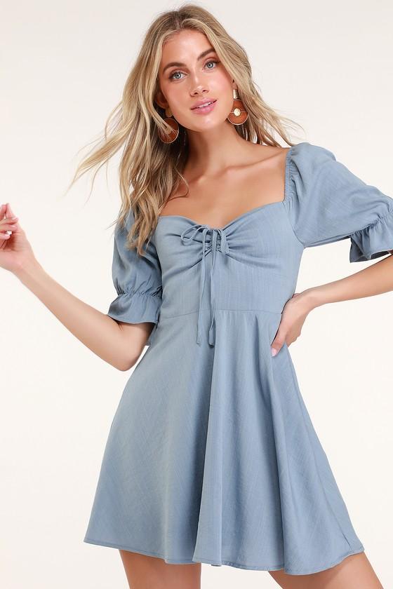 5a0d6d0d726 Pretty Puff Sleeve Dress - Blue Mini Dress - Casual Day Dress