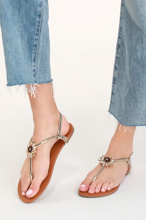 7014960ab4b6 Cute Gold Sandals - Rhinestone Sandals - Slingback Sandals