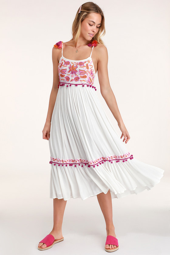 586d560ce32f Raga First Bloom Dress - White Embroidered Dress - Midi Dress