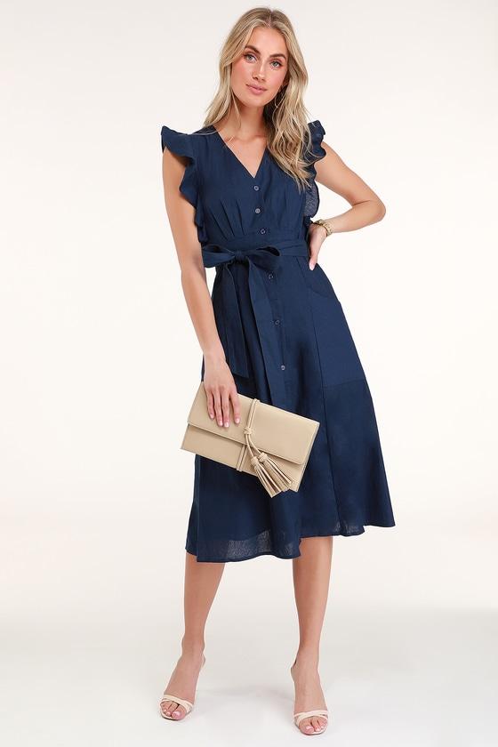 Cute Navy Blue Dress - Blue Ruffled Dress - Button-Up Midi Dress 5beede8ca