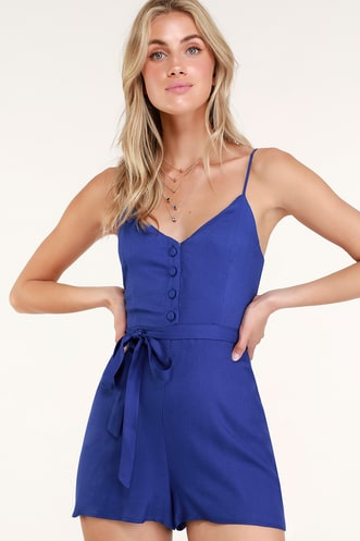 aa0e4bad26 In the Know Royal Blue Sleeveless Romper