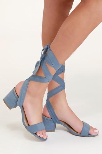 ecae8c296a29 Trinidad Blue Suede Lace-Up Heels
