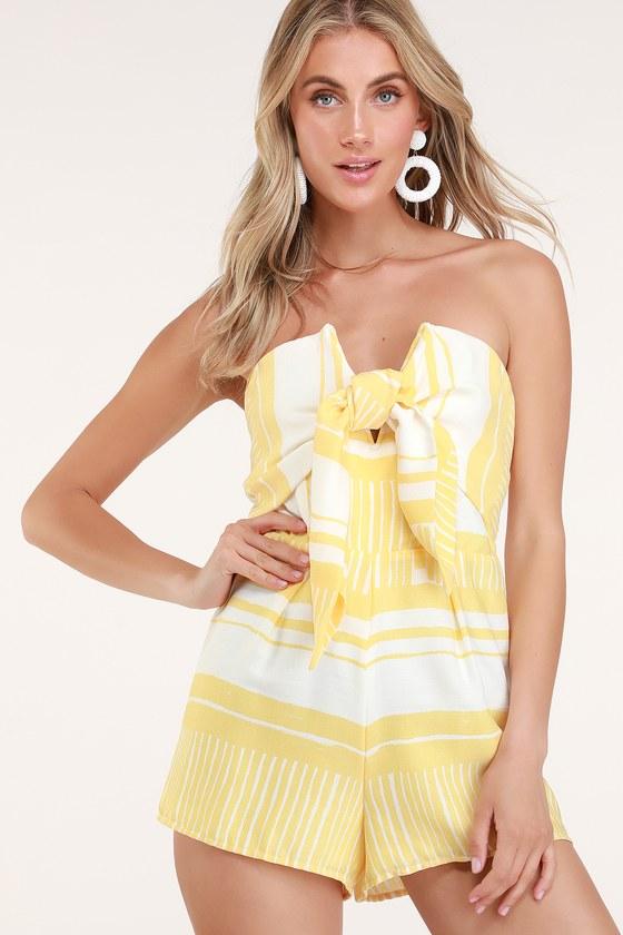a0a3e7eb6b011 Delphi Yellow and White Striped Tie-Front Strapless Romper