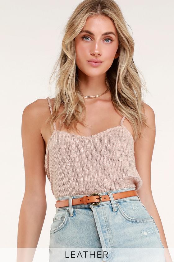 Tinsley Camel Leather Belt - Lulus