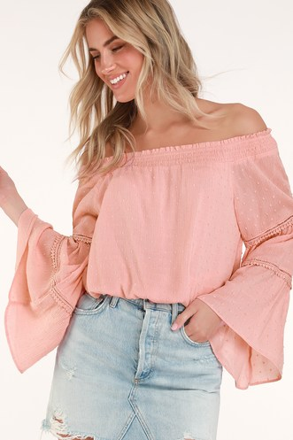 3129cb0550b1c Sunny Story Blush Pink Lace Bell Sleeve Off-the-Shoulder Top