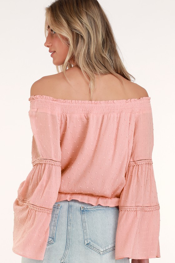 0250c4b480f0 Sunny Story Blush Pink Lace Bell Sleeve Off-the-Shoulder Top