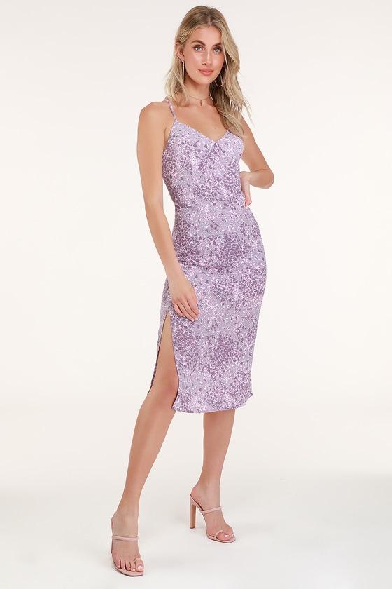 58db4775c Cute Lavender Dress - Floral Print Dress - Lace-Up Midi Dress
