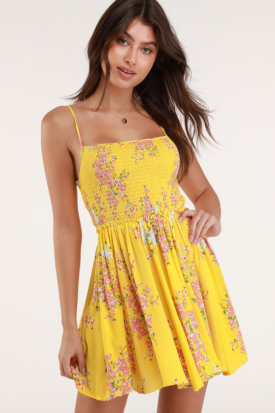 Cute Yellow Floral Dress Smocked Mini Dress Skater Dress