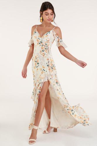 Shadow Blooms Cream Floral Print Ruffled Maxi Dress 65a03810354a