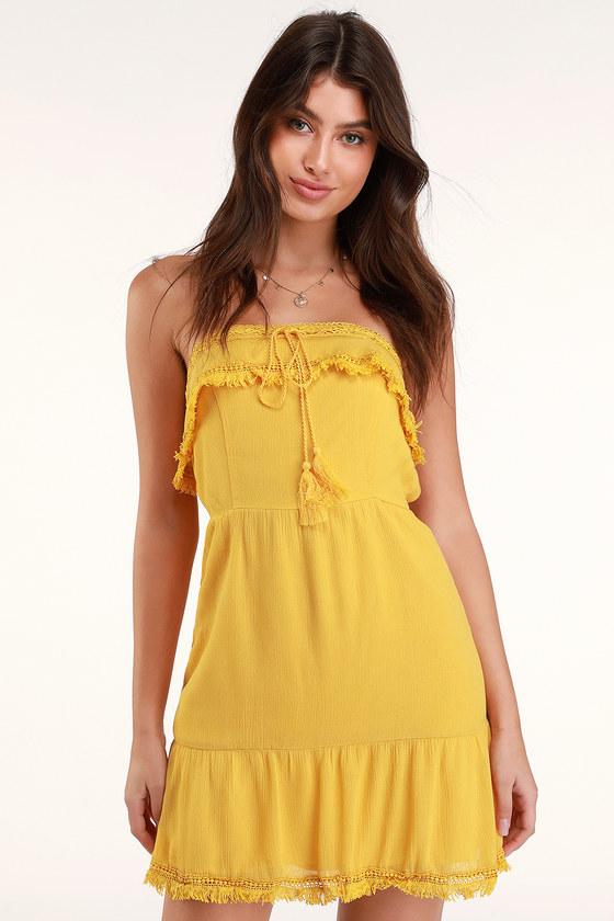 b110d8a046ab Boho Yellow Dress - Crochet Dress - Strapless Dress - Mini Dress