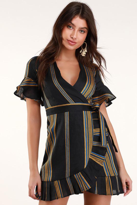 3093e43a0311 Fun Black Dress - Striped Dress - Wrap Dress - Ruffled Wrap Dress