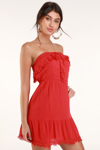 1210ac1fe3 Oceanview Red Crochet Strapless Mini Dress