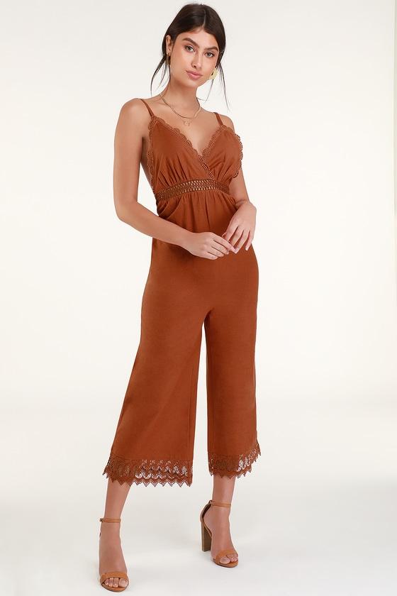 1e1925282de Billabong Lace and Lies - Terra Cotta Jumpsuit - Lace Jumpsuit