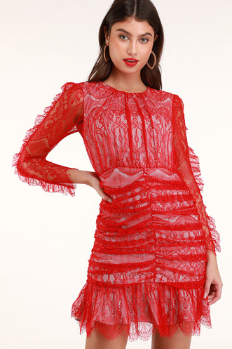 Rose Red Ruched Lace Long Sleeve Dress e13461db1