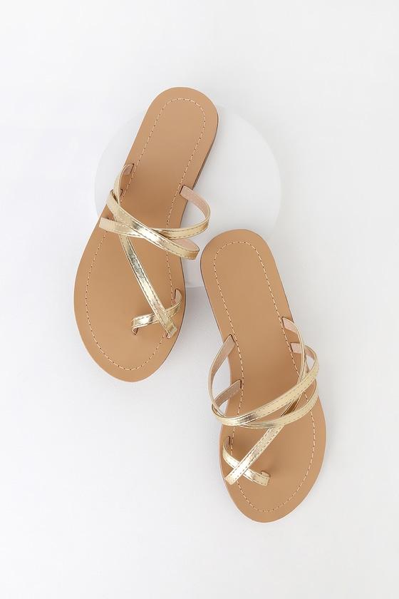 53c919a37ec2 Cute Gold Sandals - Gold Flat Sandals - Gold Strappy Sandals