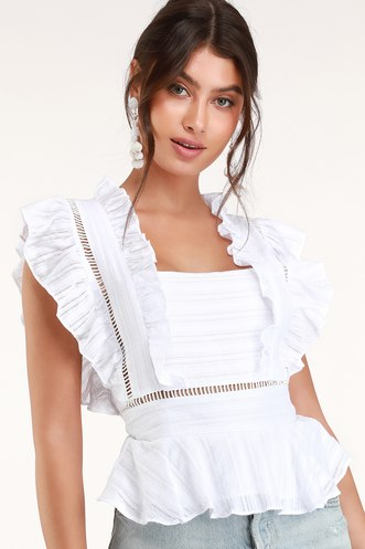 d4caf2e46a61 Honey Punch Belissa White Ruffled Square Neck Top