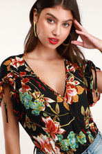 7b2cfbc4fb5e ASTR the Label Bernadette - Floral Bodysuit - Surplice Bodysuit