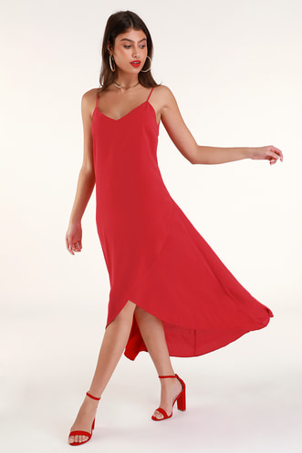 e00d8f6954 Sweet Surprise Red High-Low Maxi Dress