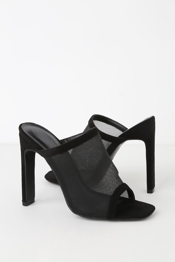 Sexy Black Mules - Peep-Toe Mules
