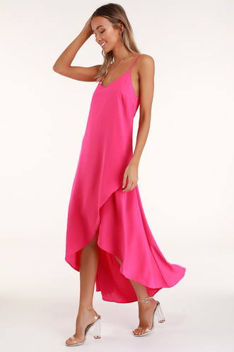 Sweet Surprise Bright Pink High-Low Maxi Dress 3849752a3