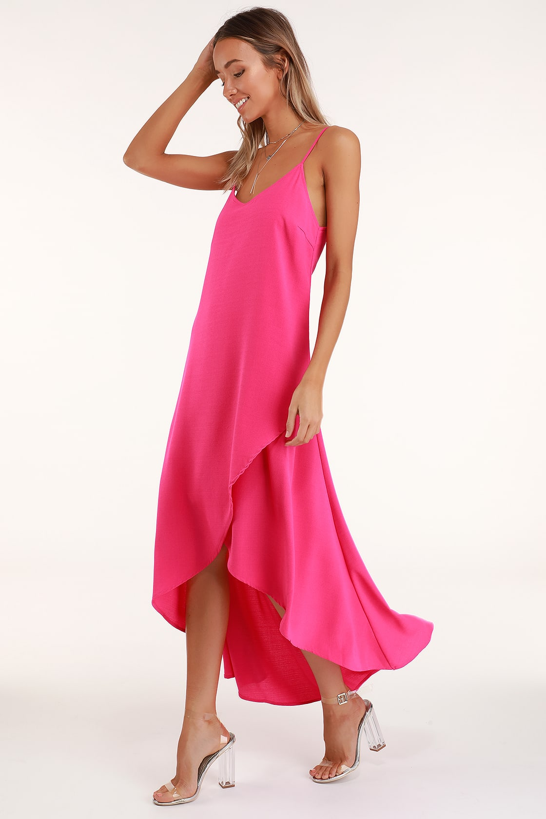 Sweet Surprise Bright Pink High-Low Maxi Dress