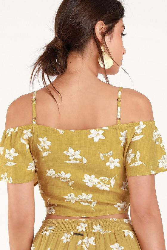 f18407f928e49 Billabong x Sincerely Jules Life on Hold - Yellow Top - Crop Top