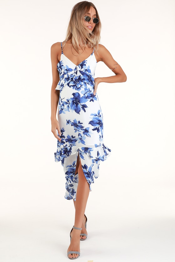 Island Time Blue and White Floral Print Ruffled Midi Dress