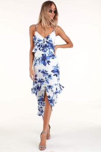 Island Time Blue and White Floral Print Ruffled Midi Dress 91cadfe6f