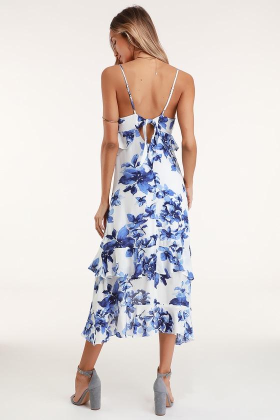 12811a24bdb7 Blue and White Floral Print Dress - Midi Dress - Ruffled Dress