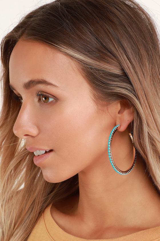 188260241 Cute Gold and Turquoise Hoop Earrings - Rhinestone Hoops - Hoops
