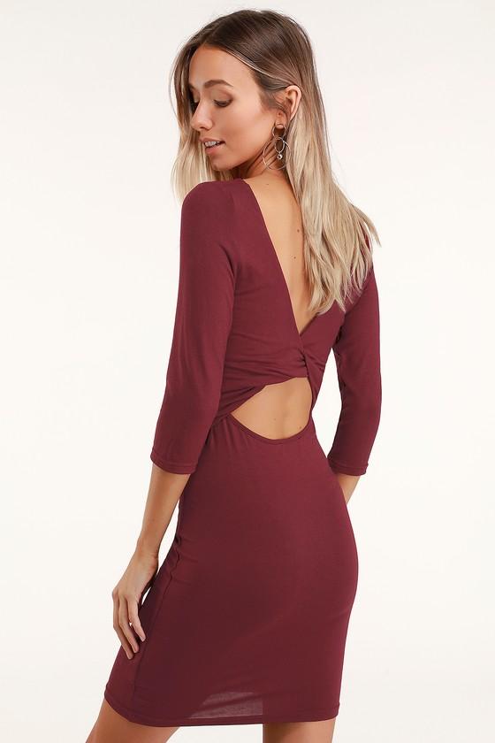 Twist In Time Burgundy Twist Back Bodycon Dress by Lulus
