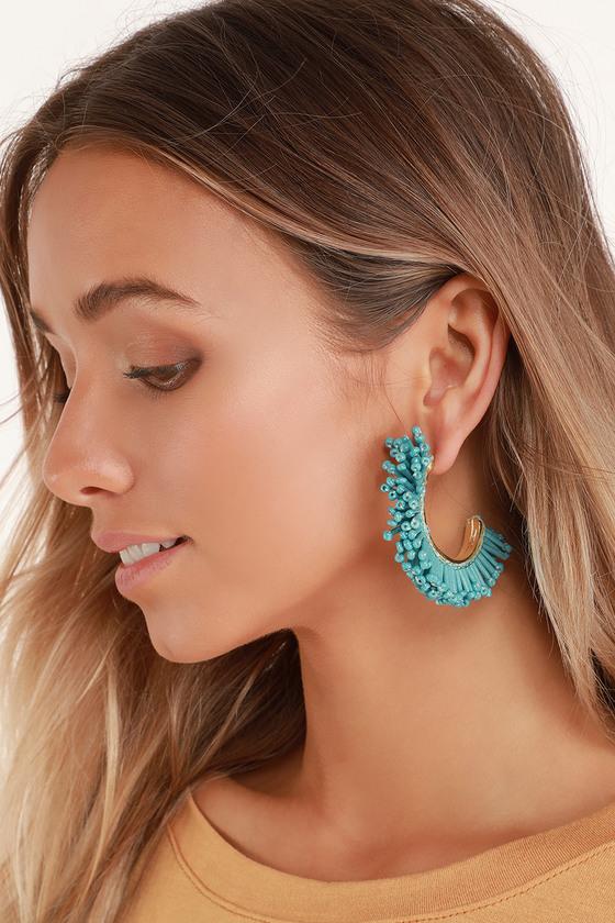 58daab777 Cute Boho Earrings - Turquoise Beaded Earrings - Tassel Earrings