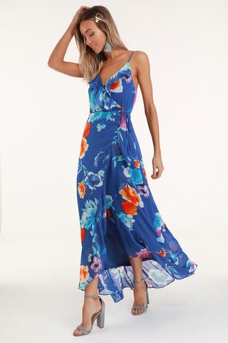 Ladean Royal Blue Floral Print Ruffled Wrap Maxi Dress 6ad7002c1