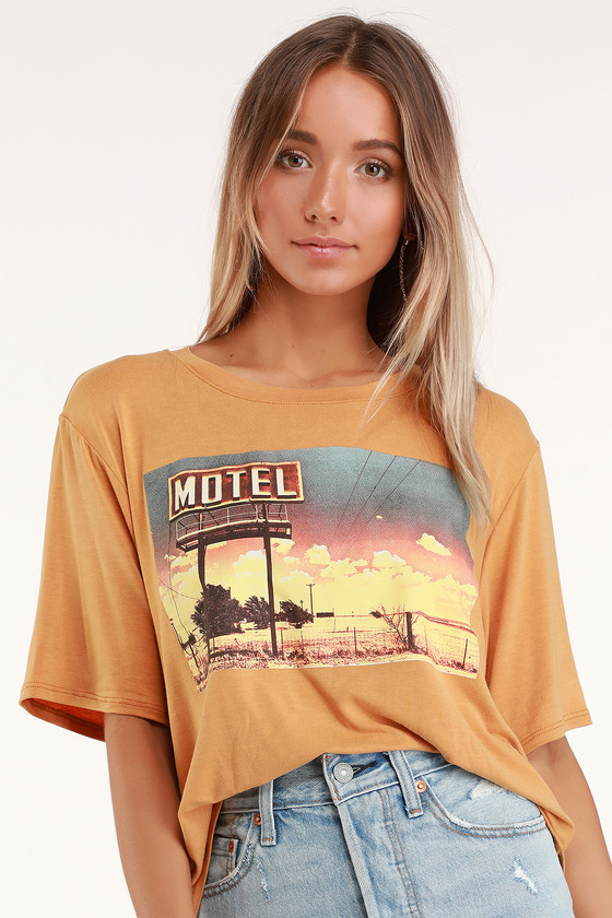 2018 sneakers timeless design the cheapest Motel California Washed Orange Oversized Graphic Tee